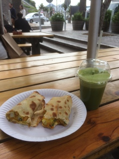 Chickpea curry roti and 'veggie heaven' green juice
